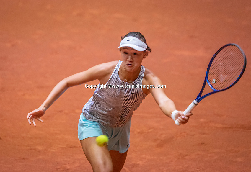 Den Bosch, The Netherlands, April 16, 2021,    Maaspoort, Billy Jean King Cup  Netherlands -  China , seccond day first match:  Xiyu Wang (CHN)<br /> Photo: Tennisimages/Henk Koster