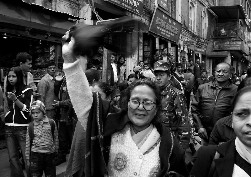 Kathmandu, Nepal, Feb. 18, 2005.An eerie atmosphere in Kathmandu for 'Democracy Day', less than 3 weeks after the King's Feb. 1st  suspension of fundamental rights in Nepal. Meena Pandey, center, former Minister of Social Affairs and Women Condition of Nepal, member of the Nepali Congress Party, is arrested for the second time in 48 hours.