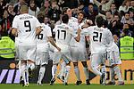 Real Madrid's Karim Benzema, Sergio Canales, Alvaro Arbeloa, Sergio Ramos, Esteban Granero, Pedro Leon and Marcelo Vieira celebarte goal during King's Cup match.November 10,2010. (ALTERPHOTOS/Acero)