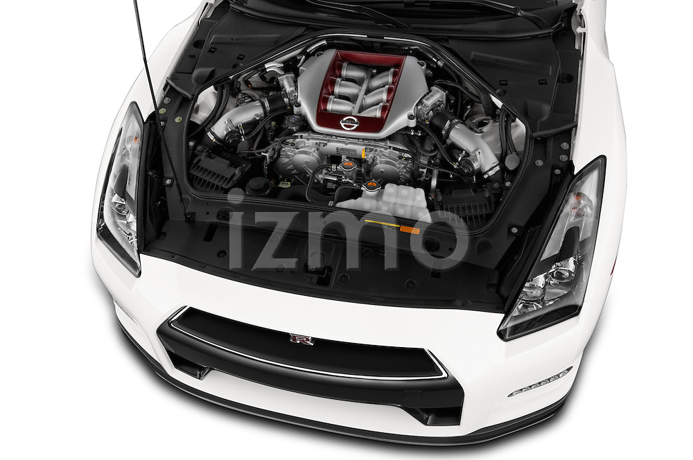 High angle engine detail of a  2014 Nissan GTR Coupe