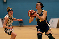Renee Busch of Sevenoaks Suns looks to shoot during the WBBL Championship match between Sevenoaks Suns and Newcastle Eagles at Surrey Sports Park, Guildford, England on 20 March 2021. Photo by Liam McAvoy