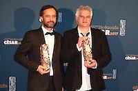 """CLAUDE BARRAS, CESAR DU MEILLEUR LONG METRAGE D'ANIMATION POUR LE FILM """"MA VIE DE COURGETTE"""" ET FABRICE LUANG-VIJA, CESAR DU MEILLEUR COURT METRAGE D'ANIMATION POUR LE FILM """"CELUI QUI A DEUX AMES"""" - 42EME CEREMONIE DES CESAR LE 24 FEVRIER 2017 A LA SALLE PLEYEL"""