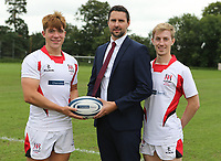 Ulster Rugby Schools 2018-2019<br /> <br /> Friends School  players Jack Harte and Stuart Patterson with Danske Bank representative Ian Russell.<br /> <br /> Photo by John Dickson / DICKSONDIGITAL