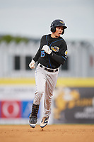 Akron RubberDucks designated hitter Tyler Krieger (15) runs the bases after hitting a home run during a game against the Binghamton Rumble Ponies on May 12, 2017 at NYSEG Stadium in Binghamton, New York.  Akron defeated Binghamton 5-1.  (Mike Janes/Four Seam Images)