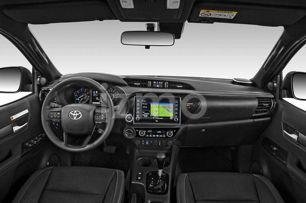 Stock photo of straight dashboard view of 2021 Toyota Hilux Invincible 4 Door Pick-up Dashboard