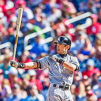 20 September 2015: Miami Marlins outfielder Ichiro Suzuki in action against the Washington Nationals at Nationals Park in Washington, DC. The Marlins fell to the Nationals 13-3 in the final game of their 4-game series. Mandatory Credit: Ed Wolfstein Photo *** RAW (NEF) Image File Available ***