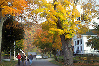 historic site, Plymouth Notch, VT, Vermont, People walking at the Calvin Coolidge State Historic Site in Plymouth Notch in autumn, boyhood home of the 30th president of the United States.