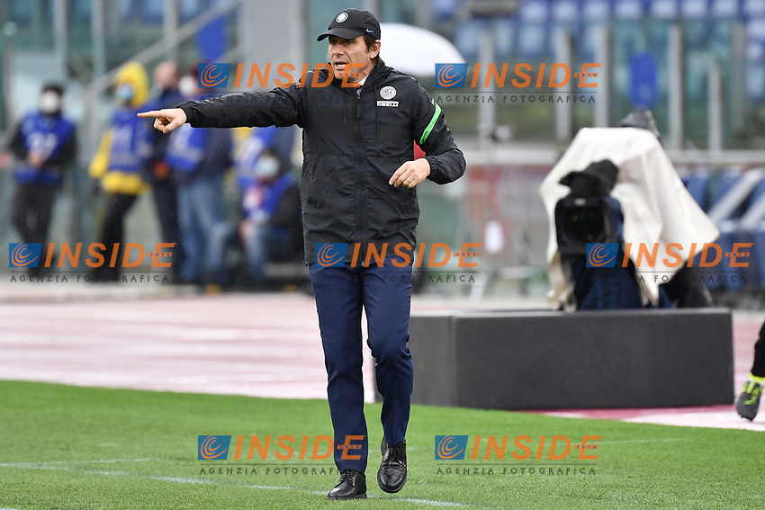 Antonio Conte, coach of Inter, during the Serie A football match between AS Roma and FC Internazionale at Olimpico stadium in Roma (Italy), January 10th, 2021. Photo Andrea Staccioli / Insidefoto