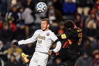 Notre Dame Fighting Irish forward Harrison Shipp (10)  goes up for a header with Maryland Terrapins midfielder Dan Metzger (7). The Notre Dame Fighting Irish defeated the Maryland Terrapins 2-1 during the championship match of the division 1 2013 NCAA  Men's Soccer College Cup at PPL Park in Chester, PA, on December 15, 2013.