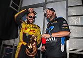 funny car, Camry, J.R. Todd, DHL, victory, celebration, trophy, Shawn Langdon