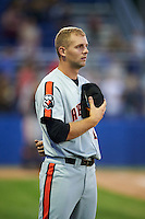 Aberdeen Ironbirds right fielder Mike Odenwaelder (41) stands for God Bless America in the 7th inning during a game against the Batavia Muckdogs on July 14, 2016 at Dwyer Stadium in Batavia, New York.  Aberdeen defeated Batavia 8-2. (Mike Janes/Four Seam Images)
