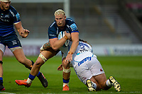 21st August 2020; AJ Bell Stadium, Salford, Lancashire, England; English Premiership Rugby, Sale Sharks versus Exeter Chiefs; Jean-Luc du Preez of Sale Sharks is tackled by Harry Williams of Exeter Chiefs