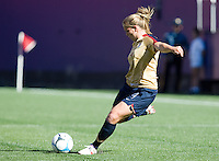 Cat Whitehill sends a ball downfield. USA defeated Brazil 2-0 at Giants Stadium on Sunday, June 23, 2007.