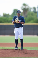 AZL Padres 1 starting pitcher Efrain Contreras (22) looks in for the sign during an Arizona League game against the AZL Royals at Peoria Sports Complex on July 4, 2018 in Peoria, Arizona. The AZL Royals defeated the AZL Padres 1 5-4. (Zachary Lucy/Four Seam Images)