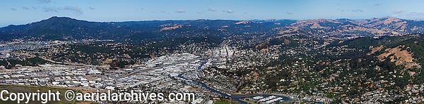 aerial panoramic photograph San Rafael, Marin County, California