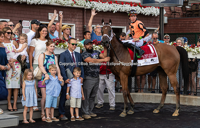 August 6, 2021: Fast Boat #1, ridden by jockey Tyler Gaffalione wins the Troy Stakes (Grade 3) at Saratoga Race Course in Saratoga Springs, NY on August 6, 2021. Rob Simmons/Eclipse Sportswire/CSM