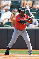Second baseman Jamodrick McGruder #2 of the Texas Tech Red Raiders at bat against the Texas Longhorns on April 17, 2011 at UFCU Disch-Falk Field in Austin, Texas. (Photo by Andrew Woolley / Four Seam Images)