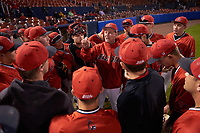 Ball State Cardinals head coach Rich Maloney (2) goes over the ground rules before a game against the Wisconsin-Milwaukee Panthers on February 26, 2016 at Chain of Lakes Stadium in Winter Haven, Florida.  Ball State defeated Wisconsin-Milwaukee 11-5.  (Mike Janes/Four Seam Images)