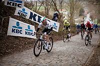European Champion Giacomo Nizzolo (ITA/Qhubeka ASSOS) up the infamous Koppenberg<br /> <br /> 105th Ronde van Vlaanderen 2021 (MEN1.UWT)<br /> <br /> 1 day race from Antwerp to Oudenaarde (BEL/264km) <br /> <br /> ©kramon