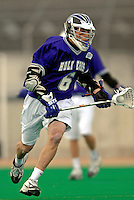 10 April 2007: Holy Cross Crusaders' Mike Moriarty, a Senior from Fairfield, CT, in action against the University of Vermont Catamounts at Moulton Winder Field, in Burlington, Vermont. The Crusaders rallied to defeat the Catamounts 5-4...Mandatory Photo Credit: Ed Wolfstein Photo