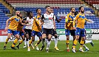 Bolton Wanderers' Ryan Delaney (centre) prepares to attack a free kick<br /> <br /> Photographer Andrew Kearns/CameraSport<br /> <br /> The EFL Sky Bet League Two - Bolton Wanderers v Mansfield Town - Tuesday 3rd November 2020 - University of Bolton Stadium - Bolton<br /> <br /> World Copyright © 2020 CameraSport. All rights reserved. 43 Linden Ave. Countesthorpe. Leicester. England. LE8 5PG - Tel: +44 (0) 116 277 4147 - admin@camerasport.com - www.camerasport.com