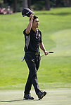 Collin Morikawa waves to the fans after winning the Barracuda Championship PGA golf tournament at Montrêux Golf and Country Club in Reno, Nevada on Sunday, July 28, 2019.