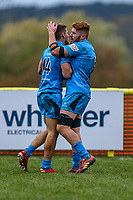 Alex Morgan of Jersey Reds is congratulated after scoring a try during the Greene King IPA Championship match between Ampthill RUFC and Jersey Reds at Dillingham Park, Ampthill, England on 16 November 2019. Photo by David Horn.