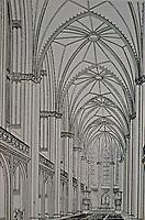 Study for Friedrichweidersche Kirche, Berlin, Germany. Architect Karl Friedrich Schinkel. Gothic interior, 1822