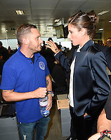 Tom Hardy and Johanna Konta<br /> on the trading floor for the BGC Charity Day 2016, Canary Wharf, London.<br /> <br /> <br /> ©Ash Knotek  D3152  12/09/2016