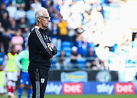 28th August 2021; Cardiff City Stadium, Cardiff, Wales;  EFL Championship football, Cardiff versus Bristol City; Mick McCarthy, Manager of Cardiff City watches the play
