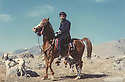 Iraq 1988 <br /> Serhad Anwar Beg Betwata riding wih his hunting dogs   <br /> Irak 1988<br /> Serhad Anwar Beg Betwata a cheval avec ses chiens de chasse