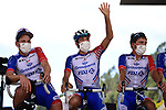 Thibaut Pinot (FRA) and Groupama-FDJ at sign on before the start of Stage 4 of Tour de France 2020, running 160.5km from Sisteron to Orcieres-Merlette, France. 1st September 2020.<br /> Picture: ASO/Pauline Ballet | Cyclefile<br /> All photos usage must carry mandatory copyright credit (© Cyclefile | ASO/Pauline Ballet)