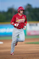 Allen Staton (40) of the Johnson City Cardinals rounds the bases after hitting a home run against the Burlington Royals at Burlington Athletic Park on August 22, 2015 in Burlington, North Carolina.  The Cardinals defeated the Royals 9-3. (Brian Westerholt/Four Seam Images)