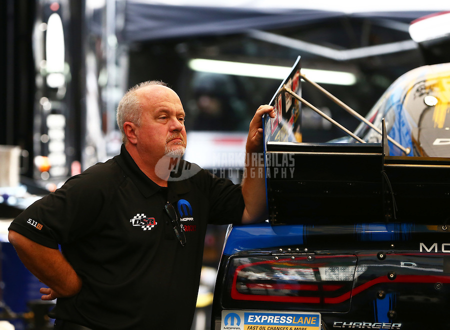 May 17, 2015; Commerce, GA, USA; Dickie Venables crew chief for NHRA funny car driver Matt Hagan during the Southern Nationals at Atlanta Dragway. Mandatory Credit: Mark J. Rebilas-USA TODAY Sports