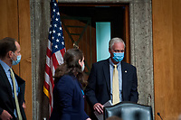 """United States Senator Ron Johnson (Republican of Wisconsin), Chairman, US Senate Committee on Homeland Security and Government Affairs, arrives for a  business meeting to consider a motion to authorize the Chairman to issue notices for taking depositions, subpoenas for records, and subpoenas for testimony, to individuals relating to the Federal Bureau of Investigation's Crossfire Hurricane Investigation; the DOJ Inspector General's review of that investigation; and the """"unmasking"""" of U.S. persons affiliated with the Trump campaign, transition team, and Trump administration, as described in Schedule A (Items 1-3), and the nominations of John Gibbs, of Michigan, to be Director of the Office of Personnel Management, and John M. Barger, of California, Christopher Bancroft Burnham, of Connecticut, and Frank Dunlevy, of California, each to be a Member of the Federal Retirement Thrift Investment Board.in the Dirksen Senate Office Building on Capitol Hill in Washington, DC., Wednesday, September 16, 2020. Credit: Rod Lamkey / CNP /MediaPunch"""