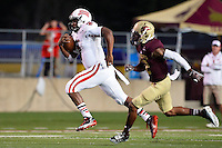 Louisiana Lafayette quarterback Terrance Broadway (8) rushes with the ball during first half of an NCAA football game, Tuesday, October 14, 2014 in San Marcos, Tex. Louisana Lafayette leads 21-3 at the halftime. (Mo Khursheed/TFV Media via AP Images)