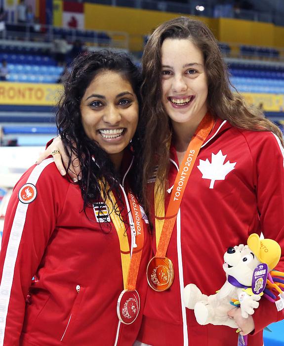 Aurelie Rivard and Katarina Roxon, Toronto 2015 - Para Swimming // Paranatation.<br /> Aurelie Rivard wins gold and Katarina Roxon wins silver in Para Swimming // Aurelie Rivard remporte l'or et Katarina Roxon remporte l'argent en paranatation. 12/08/2015.
