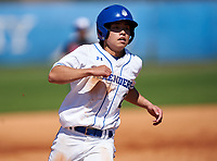 IMG Academy Ascenders Blue Gaku Takahashi (2) running the bases during a game against the Carrollwood Day Patriots on February 20, 2021 at IMG Academy in Bradenton, Florida.  (Mike Janes/Four Seam Images)