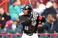 Erie SeaWolves second baseman Marcus Lemon (39) on deck during a game against the Akron RubberDucks on May 17, 2014 at Jerry Uht Park in Erie, Pennsylvania.  Erie defeated Akron 2-1.  (Mike Janes/Four Seam Images)