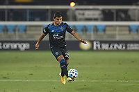SAN JOSE, CA - OCTOBER 07: Nick Lima #24 of the San Jose Earthquakes controls the ball during a game between Vancouver Whitecaps and San Jose Earthquakes at Eathquakes Stadium on October 07, 2020 in San Jose, California.