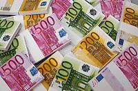 Mazzette di Euro. Bundle of notes....