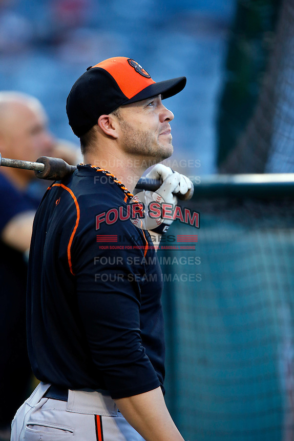 Steve Pearce #28 of the Baltimore Orioles before a game against the Los Angeles Angels at Angel Stadium on May 2, 2013 in Anaheim, California. Baltimore defeated Los Angeles 5-1. (Larry Goren/Four Seam Images)