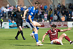 Arbroath v St Johnstone…15.08.21  Gayfield Park      Premier Sports Cup<br />Jamie McCart and  Michael McKenna<br />Picture by Graeme Hart.<br />Copyright Perthshire Picture Agency<br />Tel: 01738 623350  Mobile: 07990 594431