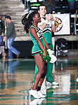 North Texas Mean Green cheerleader cheers the crowd during the game between the Jackson State Tigers and the University of North Texas Mean Green at the North Texas Coliseum,the Super Pit, in Denton, Texas. UNT defeated Jackson 68 to 49