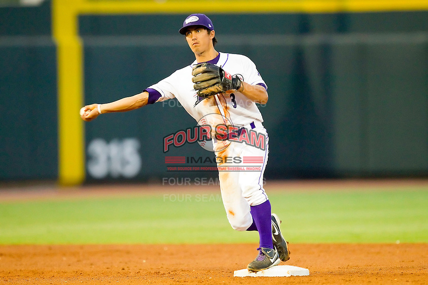 Shortstop Tyler Saladino #3 of the Winston-Salem Dash steps on second base to start a double play against the Wilmington Blue Rocks at BB&T Ballpark on August 3, 2011 in Winston-Salem, North Carolina.  The Blue Rocks defeated the Dash 6-2.   Brian Westerholt / Four Seam Images