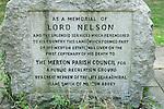 Lord Nelson Memorial, Nelson Gardens Merton SW South West London. Part of his estate in Merton. UK