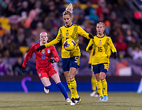COLUMBUS, OH - NOVEMBER 07: Nathalie Björn #5 of the Sweden controls the ball during a game between Sweden and USWNT at Mapfre Stadium on November 07, 2019 in Columbus, Ohio.