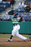 Onil Pena (22) of the Everett AquaSox bats against the Boise Hawks at Everett Memorial Stadium on July 21, 2017 in Everett, Washington. Boise defeated Everett, 10-4. (Larry Goren/Four Seam Images)