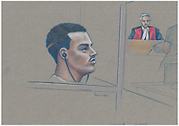 FILE IMAGE - Luka Magnotta comparution at Montreal Justice Hall, September 8, 2014.<br /> <br /> Luka Rocco Magnotta is a Canadian former pornographic actor and model who killed and dismembered Lin Jun, a Chinese international student, then mailed his limbs to elementary schools and federal political party offices.<br /> <br /> Drawing : Agence Quebec Presse - Atalante