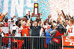 FRISCO, TX - MAY 16: Head coach K. C. Keeler of the Sam Houston State Bearkats celebrates his victory over the South Dakota State Jackrabbits during the Division I FCS Football Championship held at Toyota Stadium on May 16, 2021 in Frisco, Texas.  The Sam Houston State Bearkats defeated the South Dakota State Jackrabbits 23-21.  (Photo by Andy Hancock/NCAA Photos)
